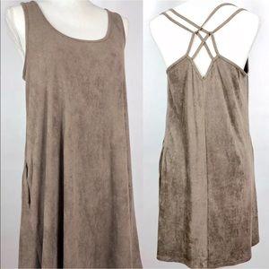 Socialite Faux Suede Tank Top Dress Mocha Brown